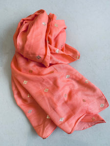Peach with gold motif scarf