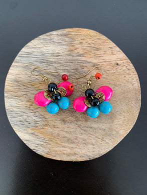 Pink and blue butterfly crackle stone earrings with hook