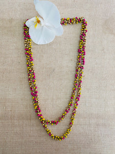 Pink and yellow double layer wooden beaded necklace
