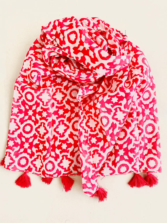 White printed scarf with pink overall print and pink tassels