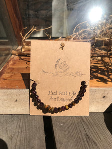 Purple black bead healing bracelet