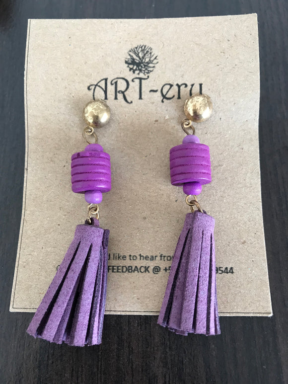 Purple tassel dangling earrings