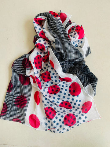 Red and grey polka scarf