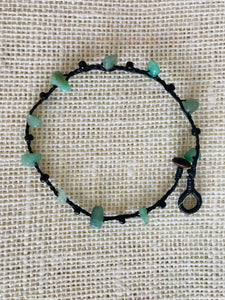Knotted anklet with natural stone - Sea green