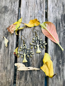 Simple tree earrings with hooks - small