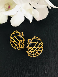 Gold tone semi circle criss cross lines abstract earrings