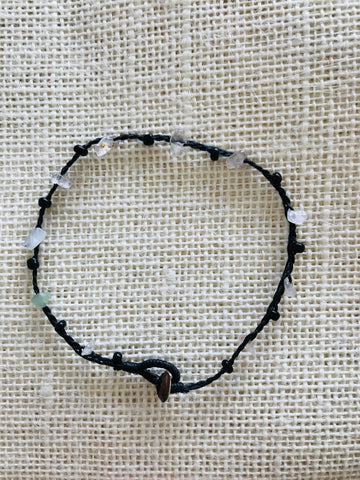 Knotted anklet with natural stone- transparent stone