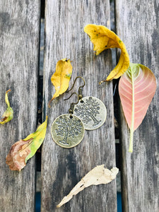 Simple tree of life small hook earrings