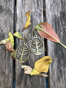Tree of life gold  gold tone hook earrings