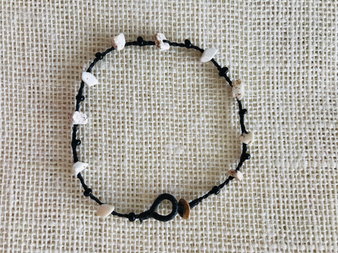 Knotted anklet with natural stone - white (single piece)