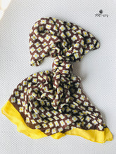 Brown and yellow floral cotton scarf