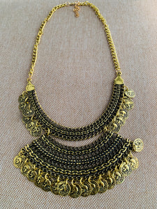 Coin necklace in gold tone