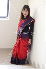 Khadi cotton check in red and blue