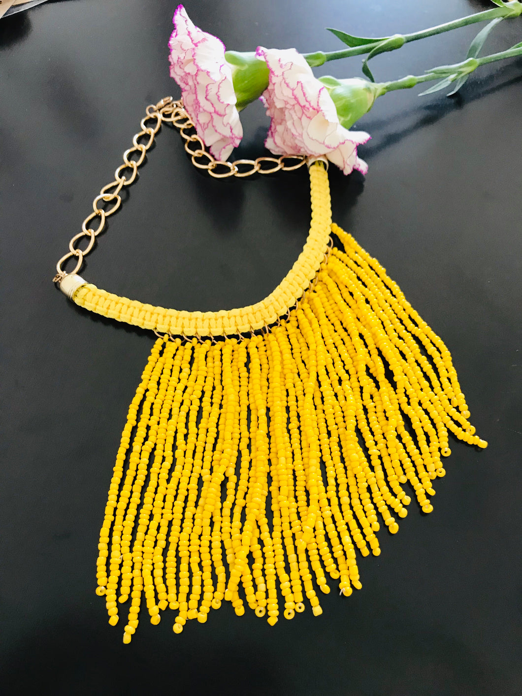 Yellow seed bead necklace