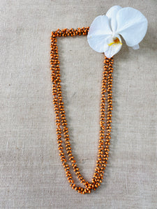 Light weight wooden beaded necklace - Orange