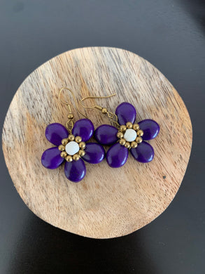 Purple crackle bead floral earring with hooks