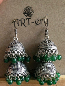 Double jhumka in green