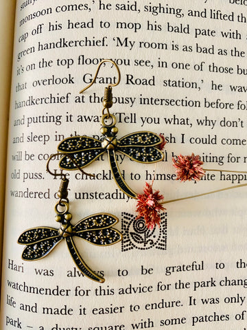 Dragonfly miniature figurine earrings from ART-ery