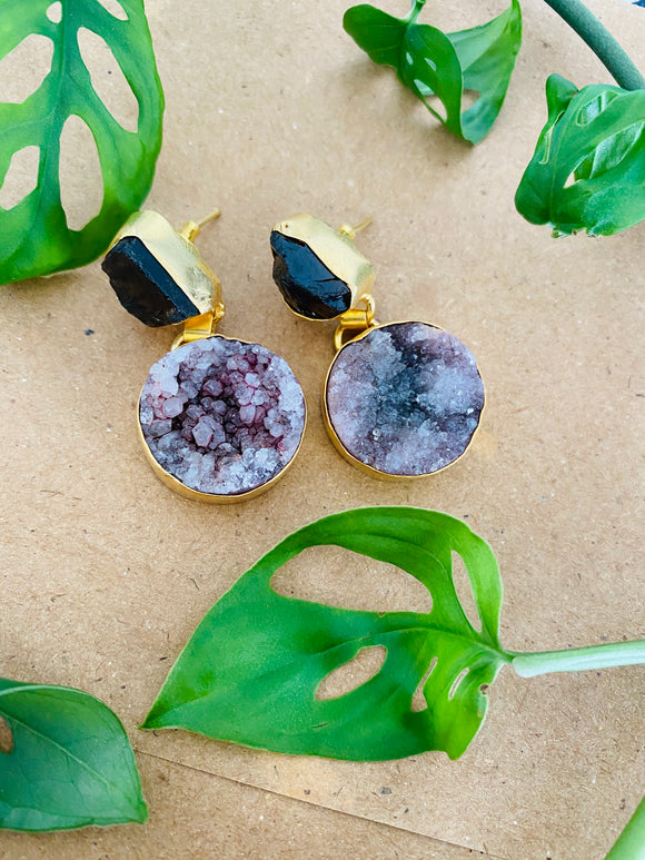 Purple druzy natural stone earrings
