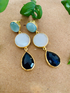 Three stone druzy natural stone earrings
