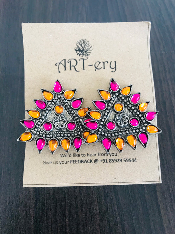 Triangular shaped yellow and pink earrings