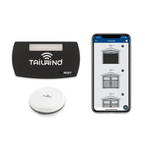 Tailwind iQ3 Smart Garage Door Controller product image showing the control module, the vehicle sensor and the app.