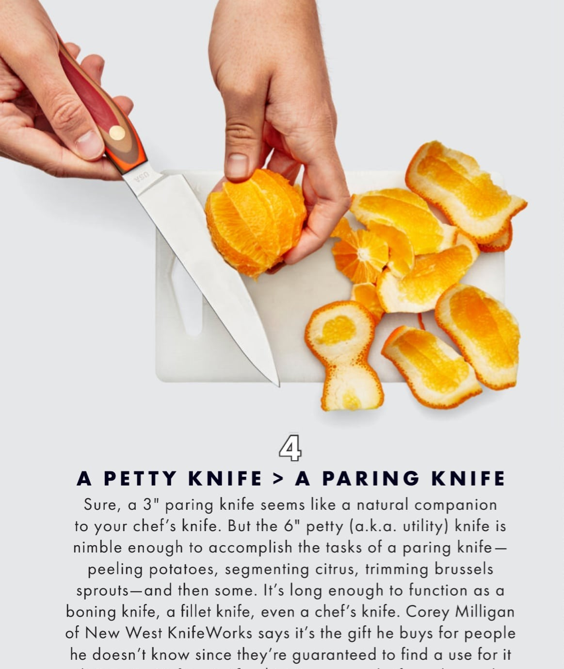 New West KnifeWorks Petty Knife featured in Bon Appetit