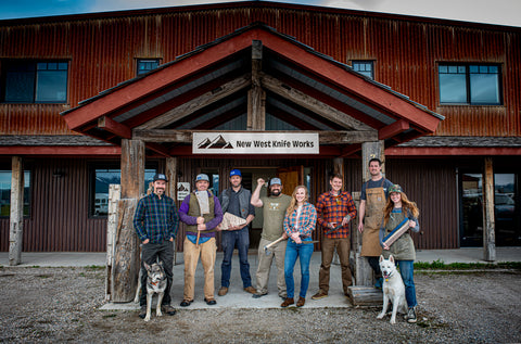 New West KnifeWorks knife makers in front of the Victor, Idaho factory