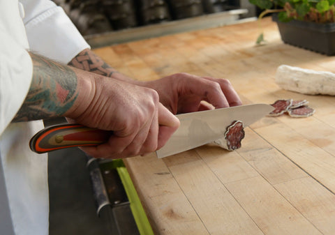 Chef Nic Jones of Napa Valley's Goose & Gander slices some salami with his Chef's knife.