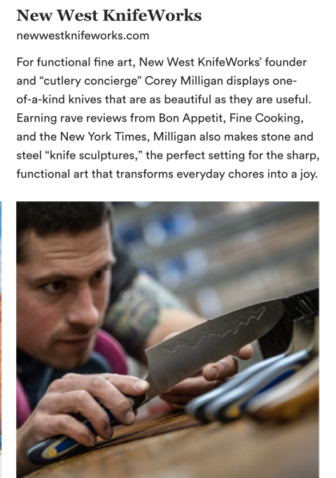 New West KnifeWorks featured in Park City Arts Magazine