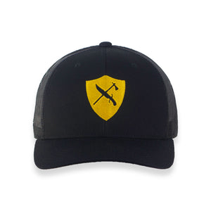 Black Trucker Hat Gold Shield - JH