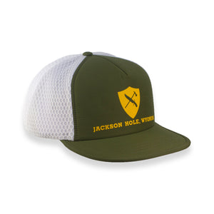 Flat Brim Hydro Trucker Hat Shield Logo - OLIVE/WHITE