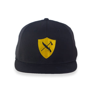 Perforated Flat Brim Shield Logo Hat - GOLD/BLACK
