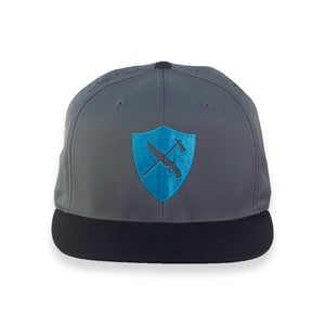Perforated Flat Brim Shield Logo Hat - GREY/BLUE