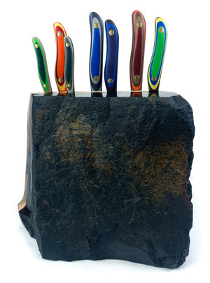 Basalt Basin 7pc Chef Knife Rock Block.