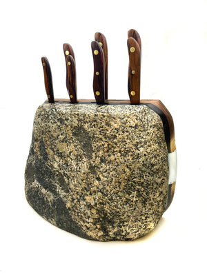 Breccia Cliffs 7pc Chef Knife Rock Block.