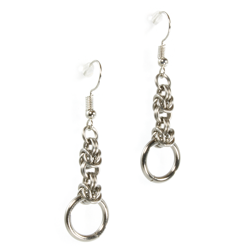 A pair of steel byzantine drop chainmaille earrings.