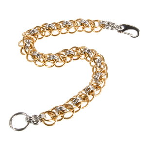 A bronze and steel persian chainmaille bracelet.
