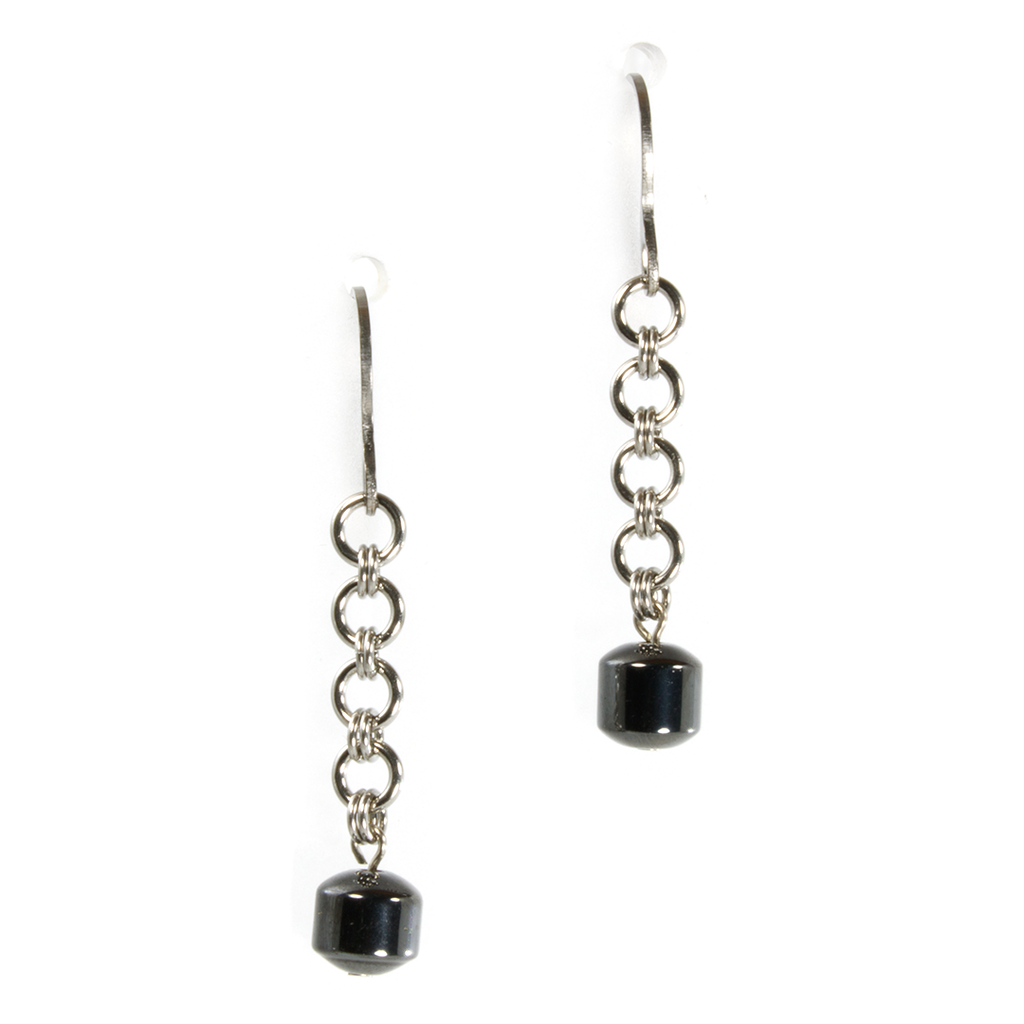 A pair of steel and hematite european drop chainmaille earrings.
