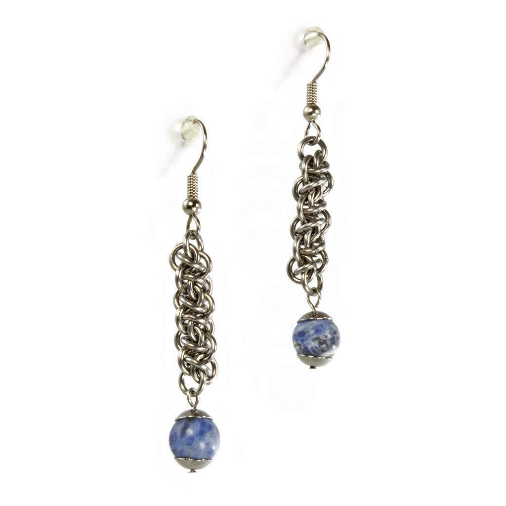 A pair of steel and semi-precious stone emira drop chainmaille earrings.