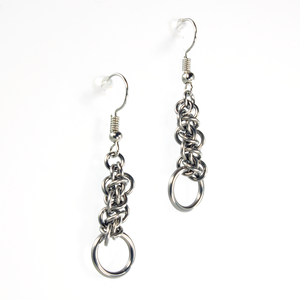 A pair of steel emira drop chainmaille earrings.