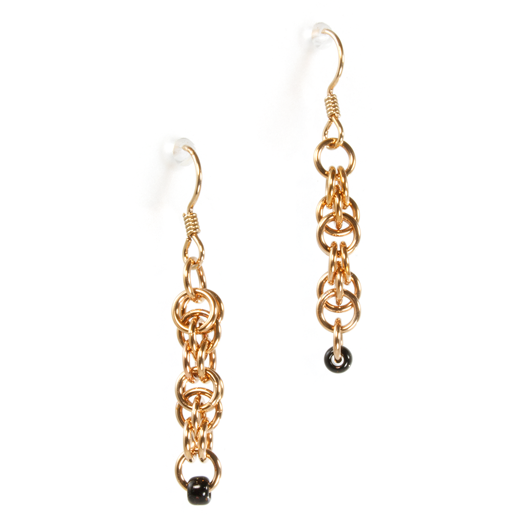 A pair of bronze lunera drop chainmaille earrings.