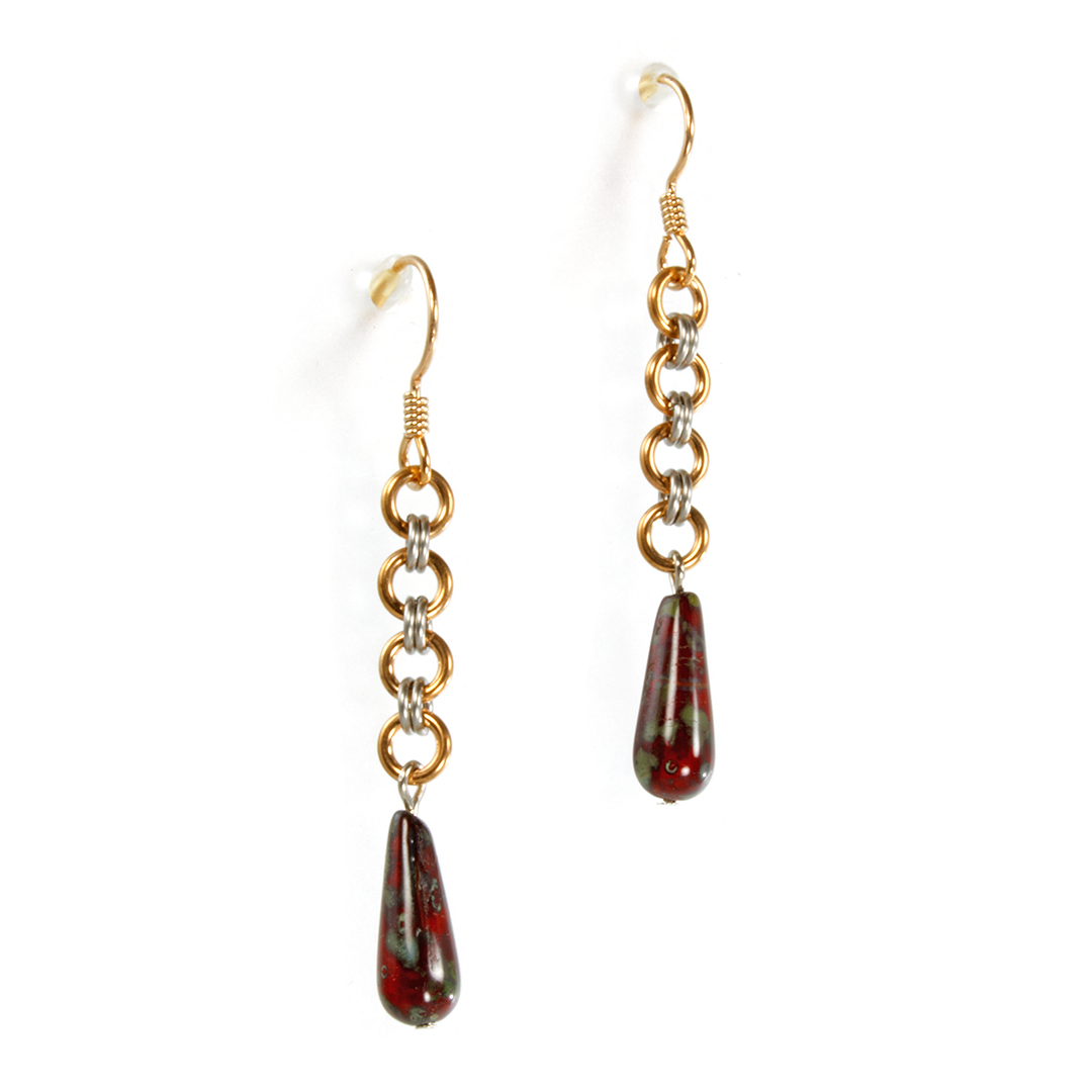 A pair of bronze, steel and czech glass japanese drop chainmaille earrings.