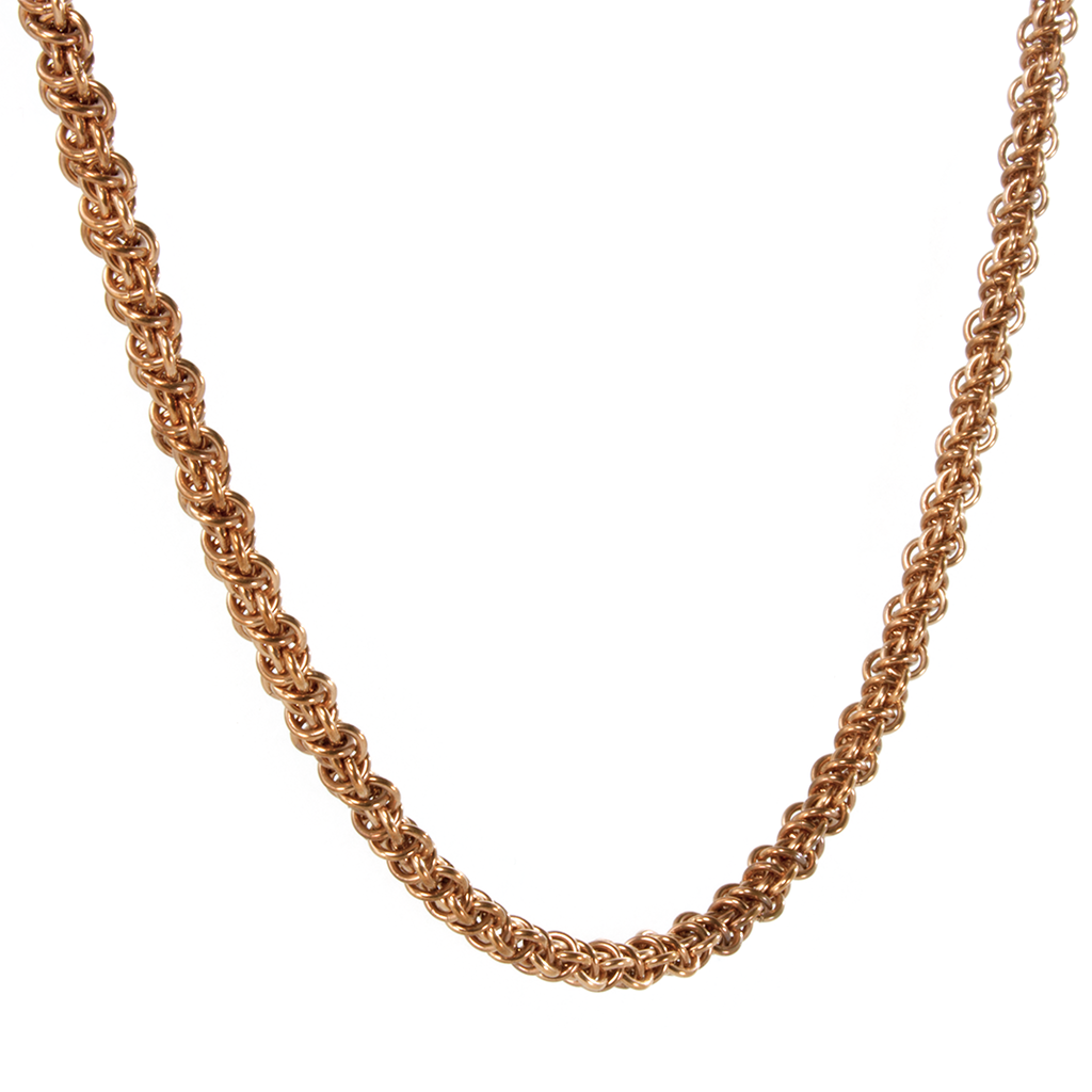 A bronze emira chainmaille necklace.