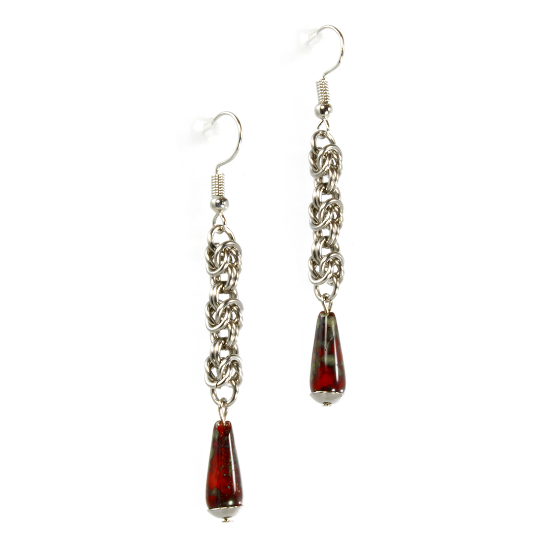 A pair of steel and czech glass byzantine drop chainmaille earrings.