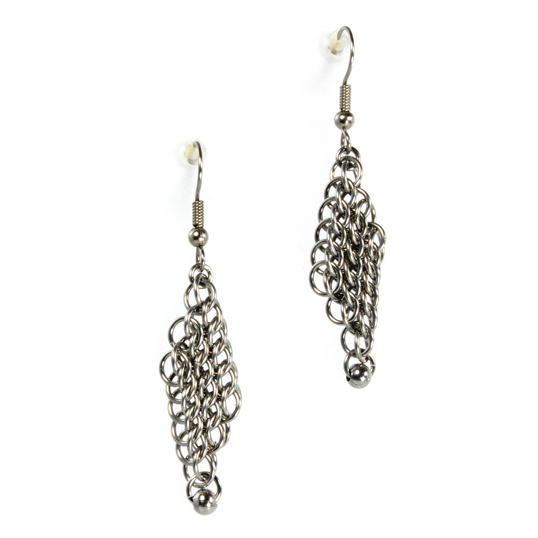 A pair of steel persian drop chainmaille earrings.