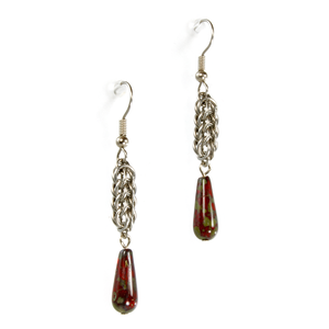A pair of steel and czech glass persian drop chainmaille earrings.