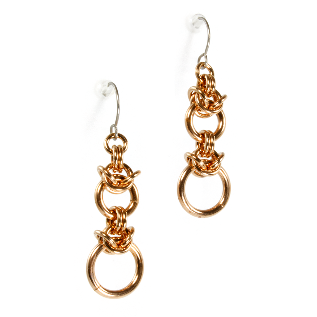 A pair of bronze byzantine drop chainmaille earrings.