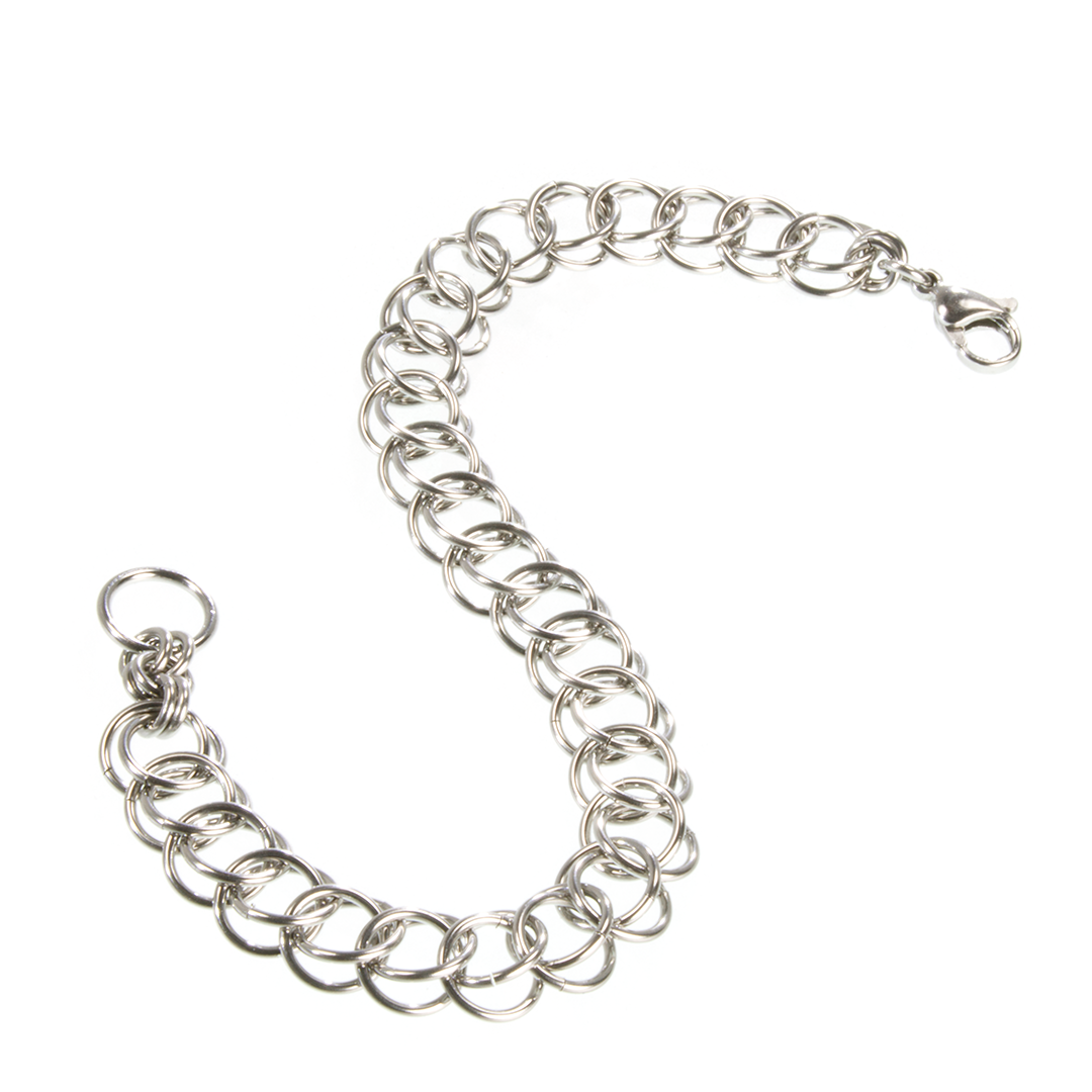A steel persian chainmaille bracelet.