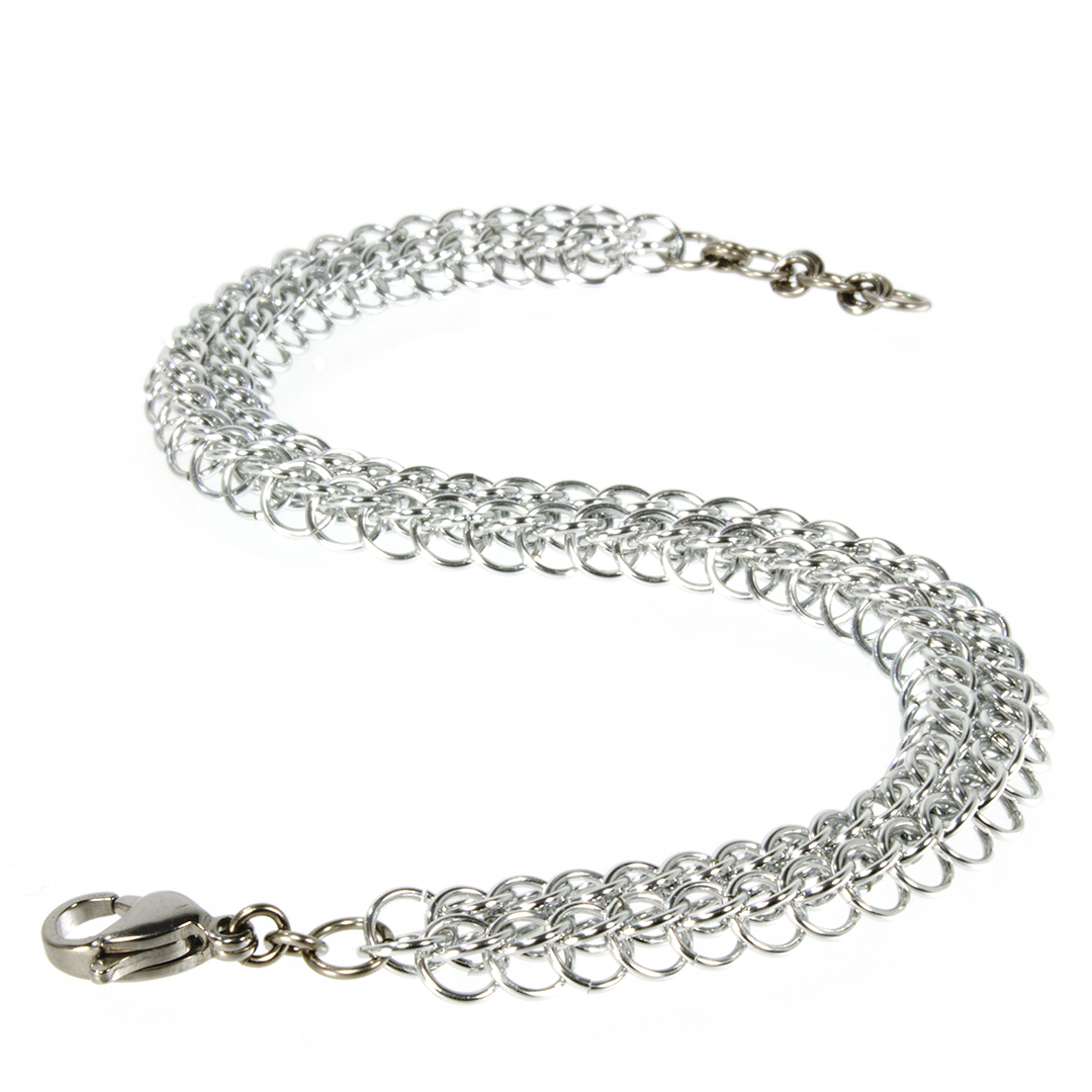 A delicate aluminum persian chainmaille bracelet.